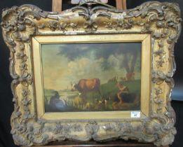 Jan Van Gool (Dutch 1685-1763), landscape with figure, spaniel and assorted livestock, oils on