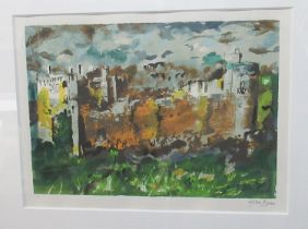 John Piper (British 1903-1992), 'Manorbier Dyfed', limited edition coloured screenprint no 49/70,