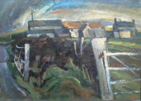 Robert Dawson (British 20th Century), 'Spring Sunshine', a Welsh farmstead, signed with initials,