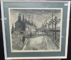 George Chapman (20th Century Welsh), a Valleys street scene with figures, signed in pencil by the