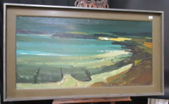 Donald McIntyre (British 1923-2009, often worked in Wales), extensive beach scene with groynes and