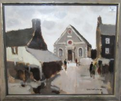 Donald McIntyre (1923-2009), 'Capel Salem', a Welsh chapel in Bodorgan , Anglesey, signed, oils on