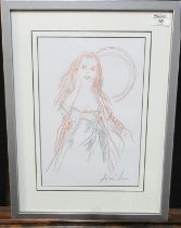 Andrew Vicari (modern Welsh), portrait of a young woman, signed, pencil and crayon. 36 x 25cm