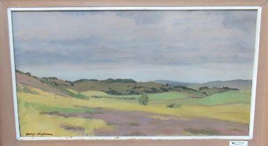 George Chapman (20th Century Welsh), Welsh moorland landscape, signed, oils on board. 27 x 50cm
