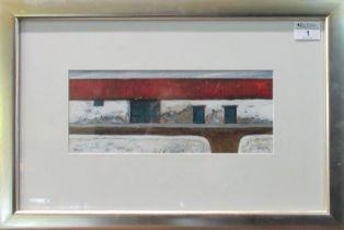 Ogwyn Davies (modern Welsh), 'Ysgubor Hir (Drws Mawr Glas), (Long Barn (Large Blue Door)', signed