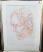 Andrew Vicari (modern Welsh), portrait of a man, signed and dated, pencil and crayon. 52 x 38cm
