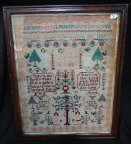 Large 19th Century Welsh and English language sampler 'Rest in the Lord and wait patiently for him',