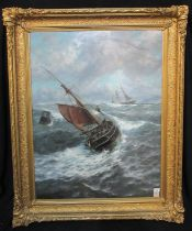 J.R Miles (British late 19th Century), 'Rounding the bell buoy', signed, oils on canvas. 110 x
