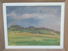 George Chapman (20th Century Welsh), Welsh landscape with farmstead, signed by the artist, oils on