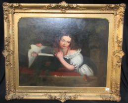 British school (19th Century), portrait of a young girl with album and robin, believed by the family