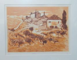 Andre Bicat (20th Century), 'Volterra', limited edition coloured etching no. 15/50, signed in pencil