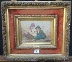 G Lodi (19th Century Italian), two urchins smoking a cigarette, signed, oils on panel, 15 x 21cm