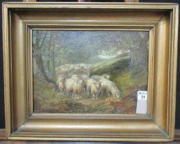 Joseph Denovan Adams (British 1841-1896), 'Sheep beneath tree', signed, oils on canvas. 26 x 36cm