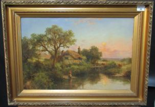 Robert Robin Fenson (British 19th Century), a pair of country landscapes, riverside cottage and