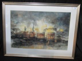 Valerie Ganz (Welsh 1936-2015), 'Six Bells Colliery', signed and dated '91, watercolours and