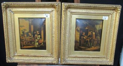 19th Century Dutch School, figure studies including; knife sharpener and peddler, a pair, oils on