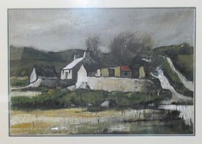Wilf Roberts (Welsh 1941-2016), 'Cottage ,Red Wharf Bay', signed and dated 1999, mixed media. 47 x