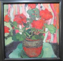 Wendy Murphy (20th Century Welsh), 'Geranium', signed with initials, oils on board. 50 x 50cm