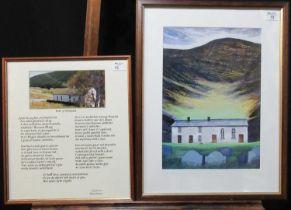 After Ogwyn Davies (20th Century Welsh), 'Soar y Mynydd', coloured print. 41 x 30cm approx. Together