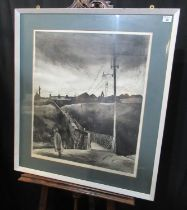 George Chapman (20th Century Welsh), Welsh Valleys village with distinctive bridge, signed in pencil