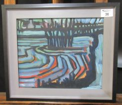 Carl Davies (20th Century Welsh), abstract landscape with distant cottages, oils on board, signed