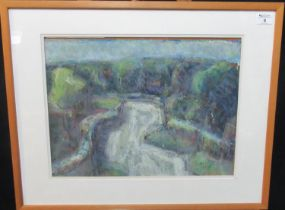Will Roberts (Welsh 1907-2000), 'A Pembrokeshire Lane', signed and dated 1988, pastels. 36 x 48cm
