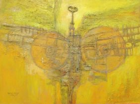 Ogwyn Davies (modern Welsh), 'Harvest Bird Machine', signed in full, dated 1974/75, PVA, acrylic and