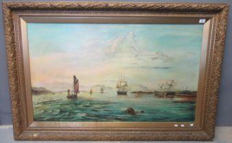 British marine school (19th/20th Century), broad estuary with sailing vessels, oils on canvas. 74