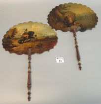 Pair of early 19th Century hand painted fans or face screens, one decorated with a Scotsman