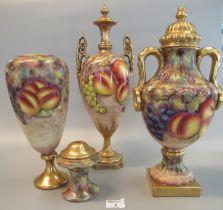 English porcelain hand painted fruit design lidded vase, black printed marks to the base, hand