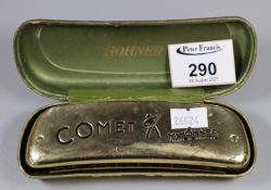M Hohner comet harmonica in fitted case. (B.P. 21% + VAT)