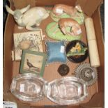 Small box containing a pair of china greyhounds, a fawn, four glass greyhound ashtrays, two matchbox