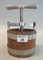 Coopered oak miniature table top kitchen cheese press with aluminium fittings, 130mm diameter