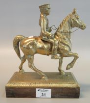 Cast brass figure of a mounted British military officer, probably Lord Kitchener ,on square wooden