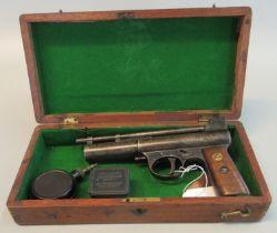 Webley & Scott Mark I air pistol with wooden grip, having brass inset, manual safety catch bearing
