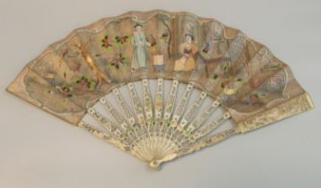 Chinese painted paper fan depicting figures with birds in an interior, the reverse with garden