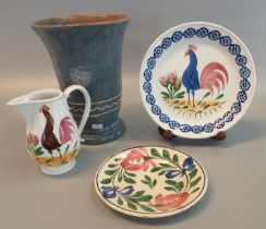 Collection of Welsh ceramics to include; Ewenny pottery trumpet design blue ground abstract pedestal