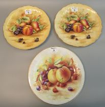 Pair of Aynsley 'Orchard Gold' fruit design cabinet plates, together with another bone china, '