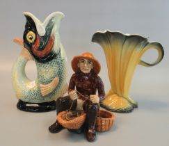 Royal Winton Grimwades pottery fish shaped glug jug, a Shorter & Sons Limited Staffordshire petal