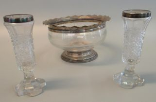 Glass baluster pedestal bowl with silver rim and base, Chester hallmarks. 18cm diameter, 10cm high