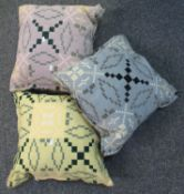Three woollen Welsh tapestry cushions in different colours. (3) (B.P. 21% + VAT)