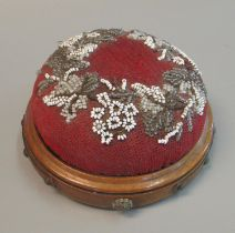 Victorian walnut metal mounted miniature beadwork footstool or pin cushion now for wall hanging. (