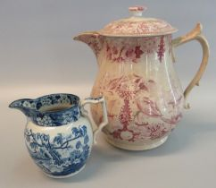 Small 19th Century Staffordshire pottery baluster shaped jug with squared loop handle, decorated