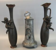 Continental (probably Dutch) pewter flagon with hinged cover dated 1757, the body decorated with