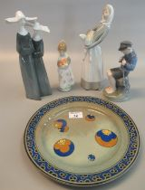 Collection of ceramics to include; Lladro style Spanish porcelain figure group of nuns, Royal