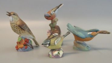 Collection of Royal Worcester bone china bird figures and groups to include; 3235 Kingfisher, 3234