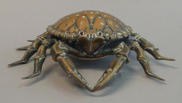 Brass powder shaker or viniagrette unusually in the form of a crab. 110mm diameter approx. (B.P. 21%