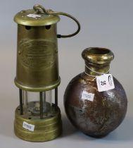 Brass miners safety lamp, British Coal Mining Company, Wales UK, type Vail Colliery 'Aberaman