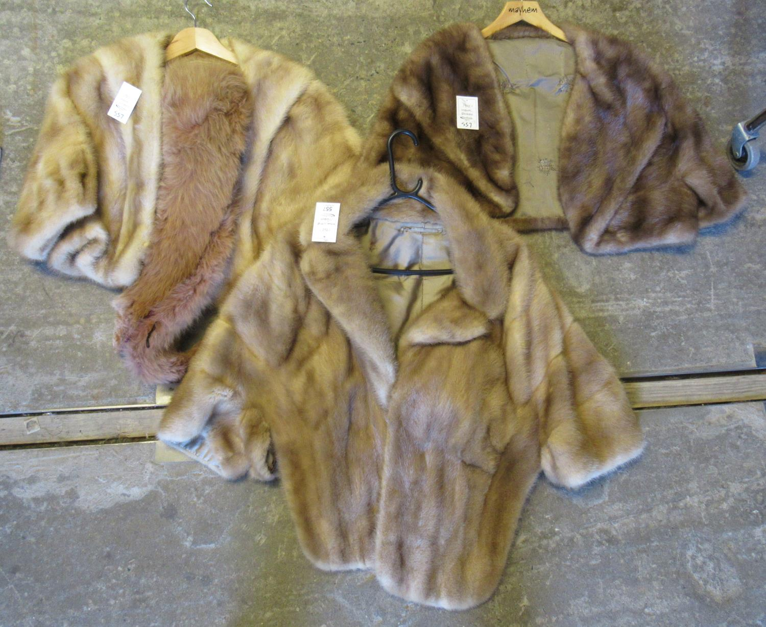 Three vintage 60's mink fur stoles in different colours, two palomino colour, together with a fox