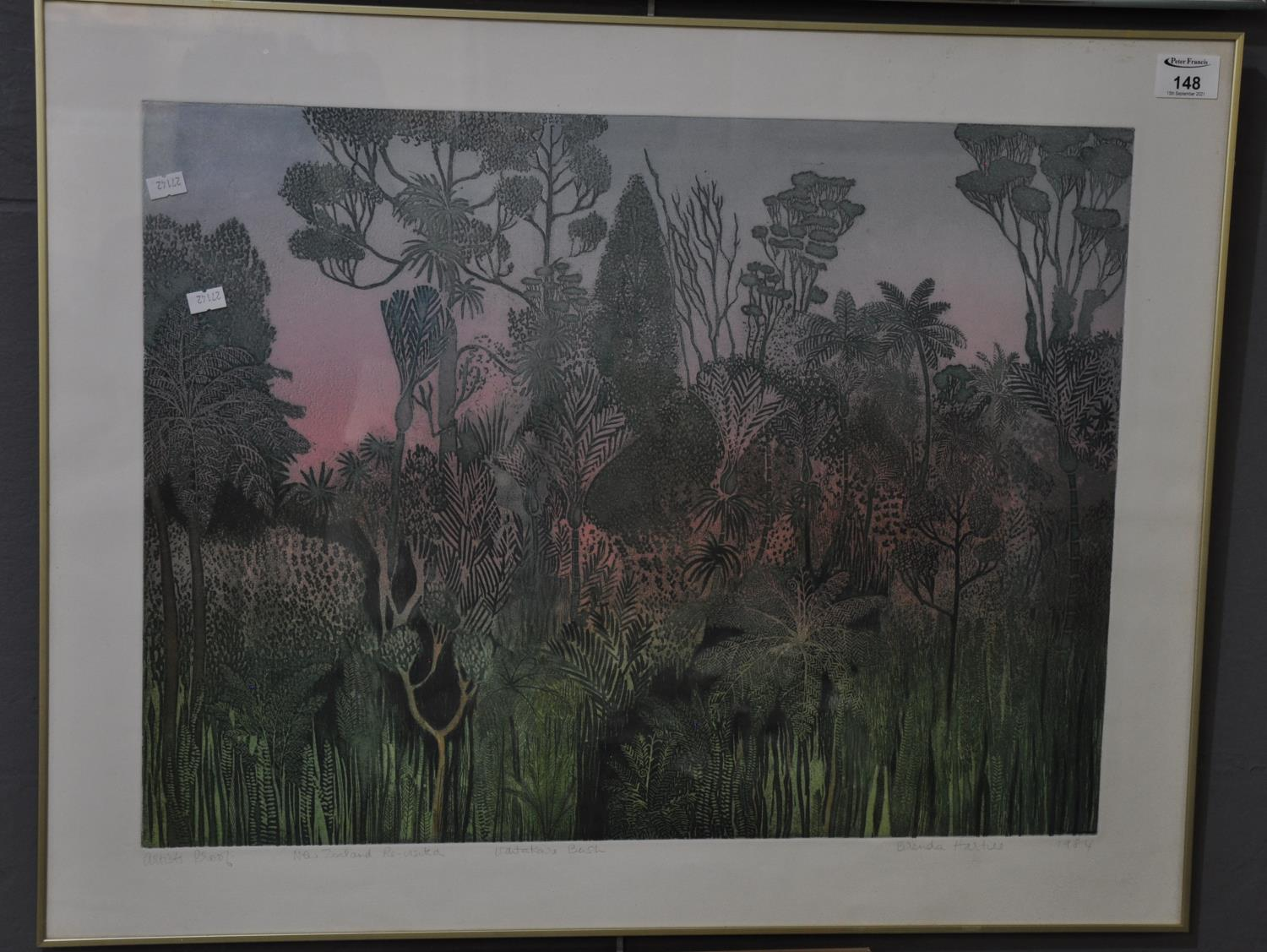 Brenda Hartill, 'New Zealand Revisited, Waitakere bush', artist's proof, coloured etching, signed in